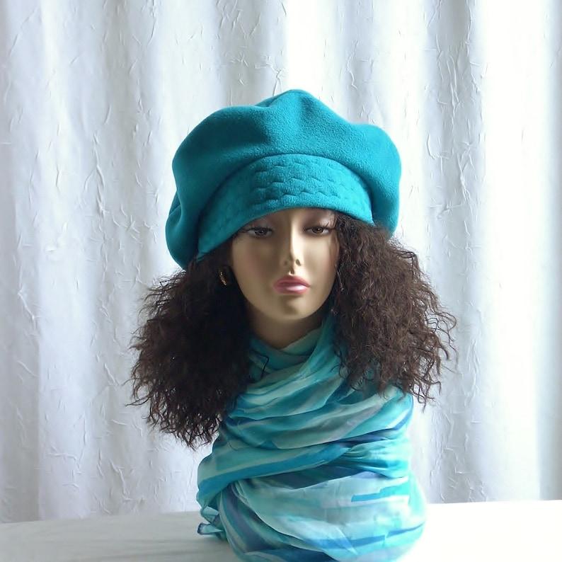 Size M Slouchy Fleece Beret/Oversize Fleece Tam/Cyan Blue/Hats image 0