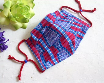 Reusable 100% Cotton Face Mask, Face Mask with Nose Wire, With Filter Pocket, Pleated Washable Face Mask, Blue and Red African Print