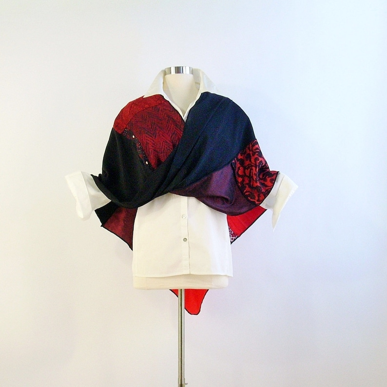 Mobius Shawl/Mobius Wrap/ Twisted Mobius Wrap/Red and Black image 0