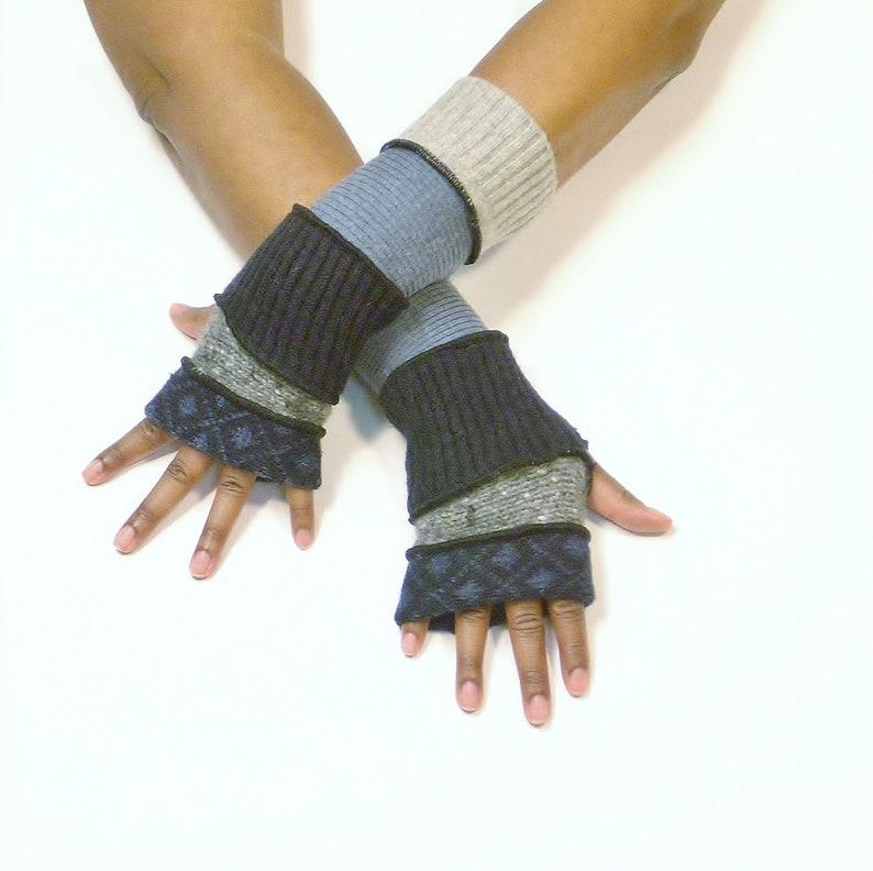 Fingerless Gloves Wrist Warmers BlackBlue Check image 0