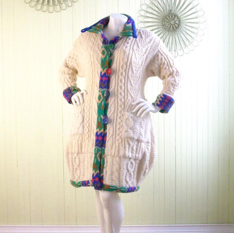 Size L Sweatercoat/Repurposed Boho Clothing/Refashioned image 0