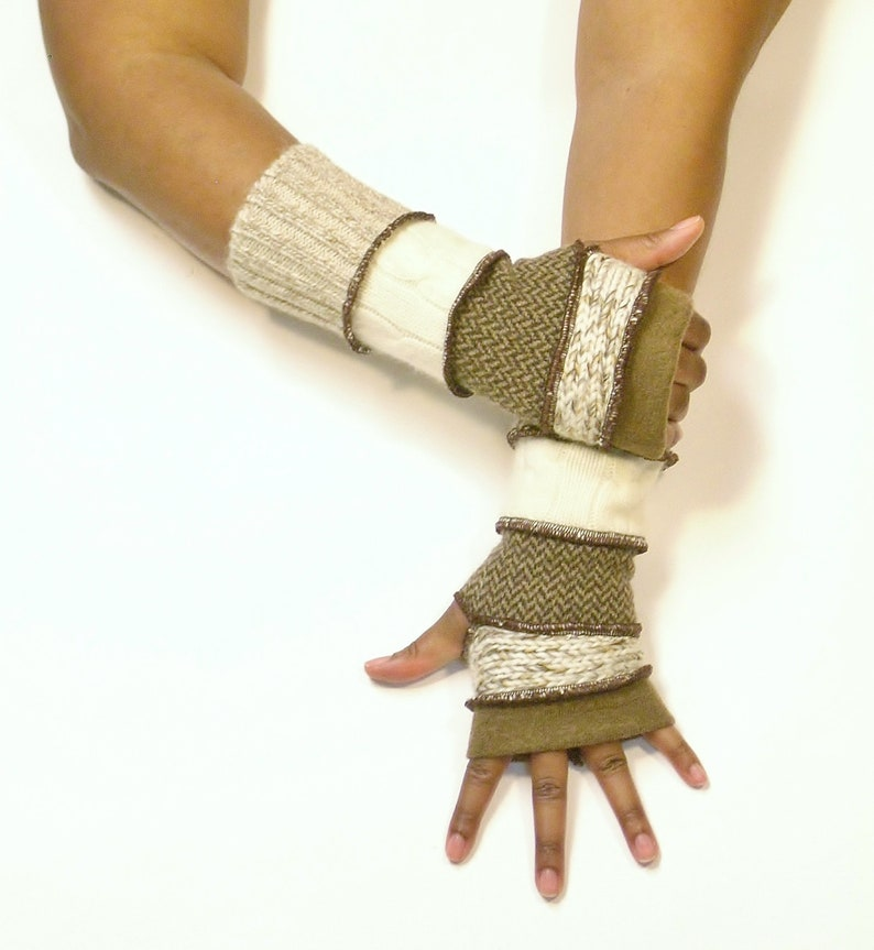 Fingerless Gloves Wrist Warmers Light Brown/Heather image 0