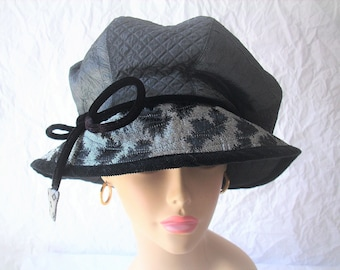 Hat/Size Small-Med Brim Hat /Dark Gray, Silver, and Black Hat/Slouchy Crown Hat/Quilted Adjustable Brim/Dreadlock Hat by Brenda Abdullah