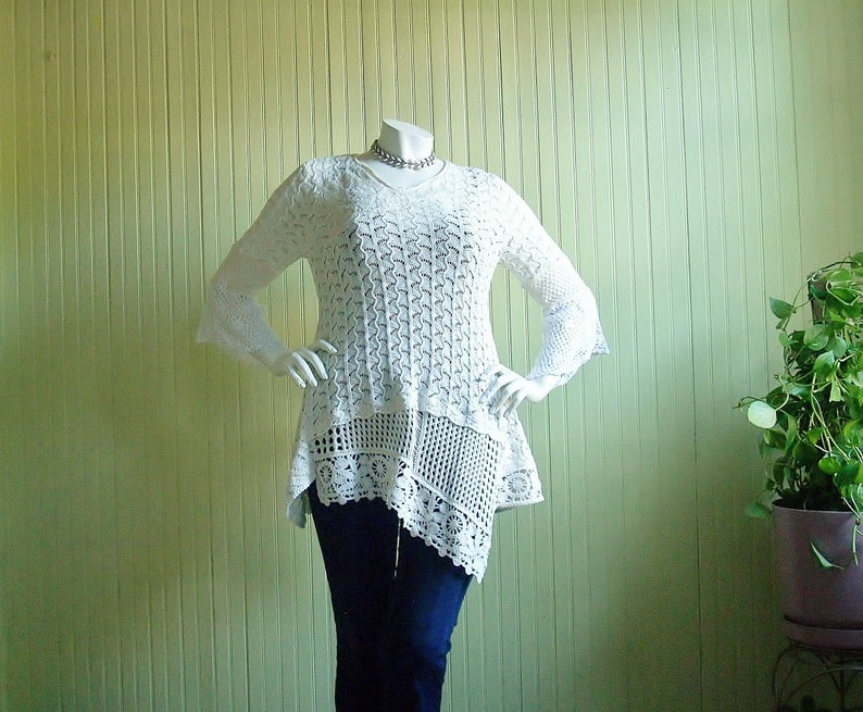 Size L Upcycled Tunic Top/Altered Clothing/Reconstructed image 0