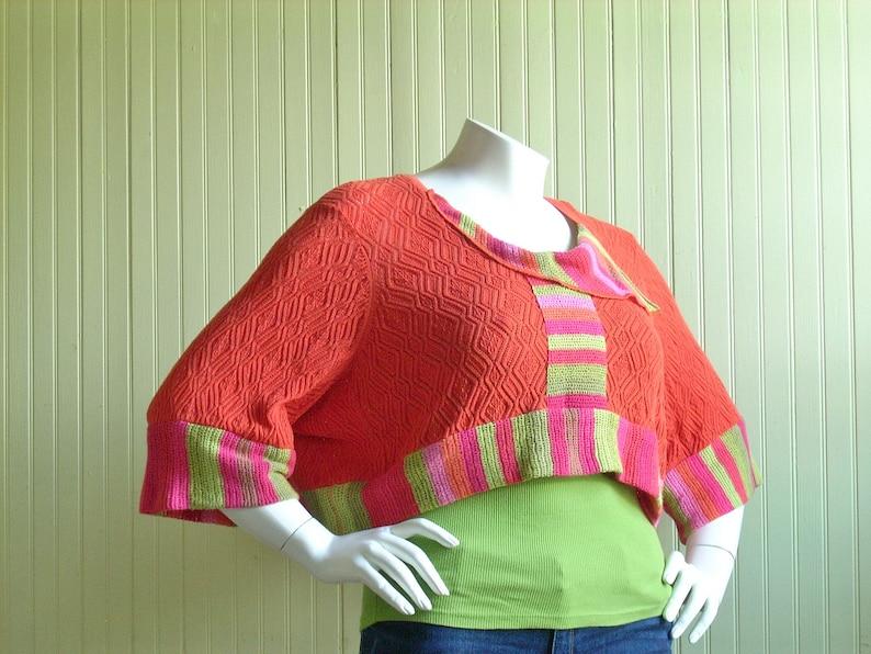 XL Orange Cropped Sweater Shrug/ Oversized Cropped Top/Altered image 0