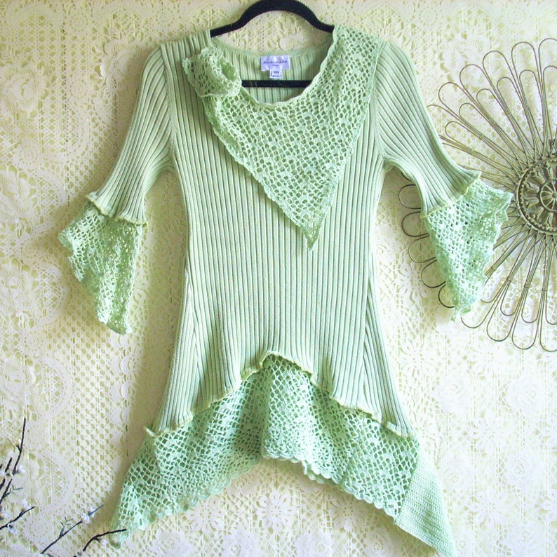 Size XS Green Crochet Top/Boho/Altered Clothing/ by Brenda image 0