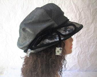 Hat/Size L-XL Brim Hat /Dark Gray, Silver, Black Hat/Slouchy Crown Hat/Quilted Adjustable Brim/Dreadlock Hat