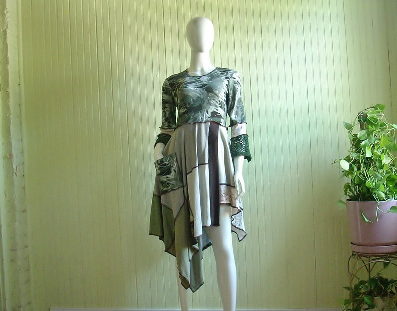 Upcycled Clothing/Recycled Boho Tunic/Size M/ Reclaimed Cotton image 0