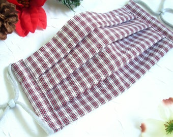 Reusable 100% Cotton Face Mask, Face Mask with Nose Wire , Filter Pocket, Pleated Washable Face Mask, Tiny Red/Gray/White Plaid
