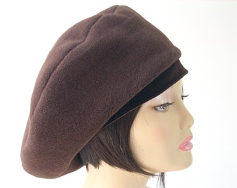 Beret-Tam Size Small/ Oversize Fleece Beret with Stretch Velvet Band/Chocolate Brown Tam/ 22.5 inch  Headband