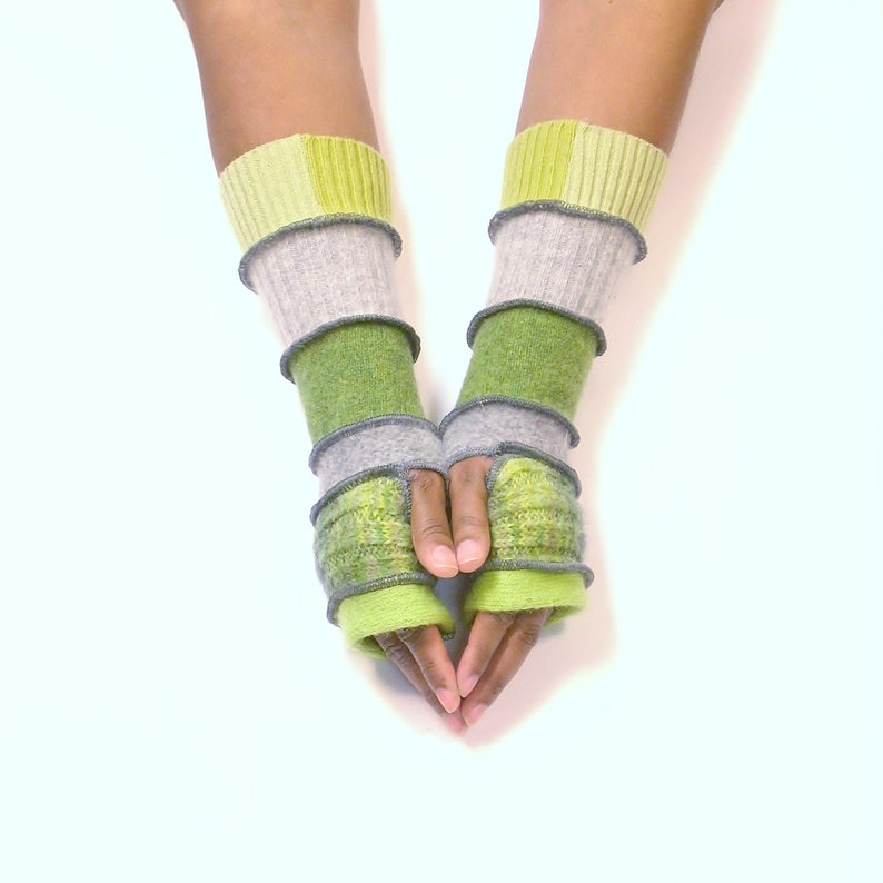 Fingerless Gloves Wrist WarmersBright Lime/Variegated Green image 0
