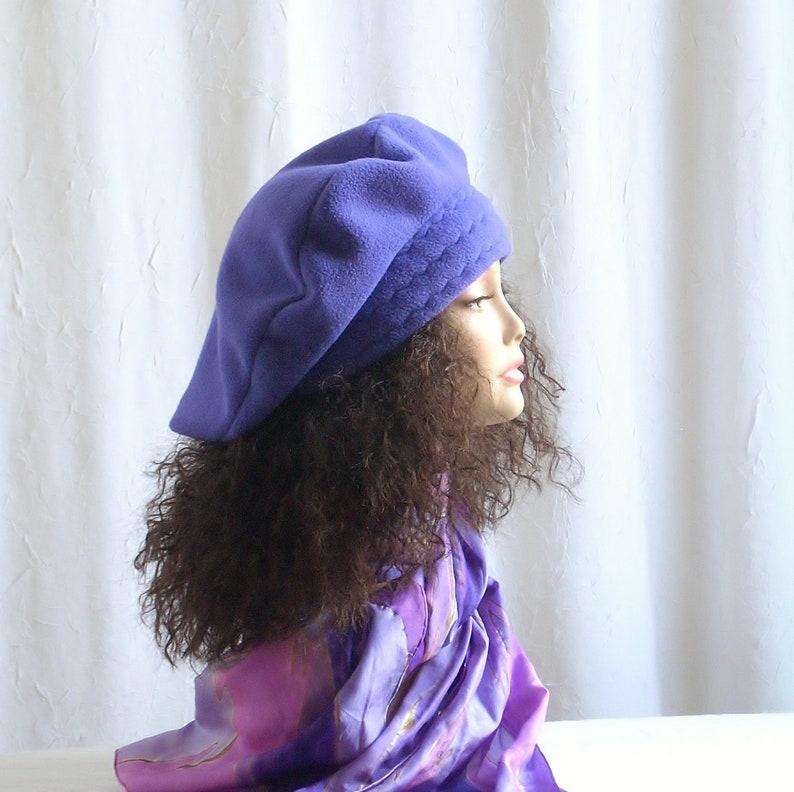 XL Beret/Oversized Fleece Beret/Large Purple Tam/Hats for image 0