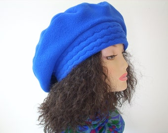 Beret/Tam/SIZE LARGE Oversize Beret/Oversize Tam/ Slouchy Fleece Tam/Bright Blue/ 24 inch (60.9cm) Headband