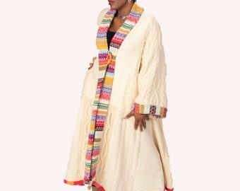 XL Long Women's Sweatercoat/ Boho Knit Coat/Wool Knit Coat/ Wearable Art/Eco Fashion