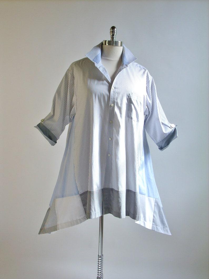2X Women's Upcycled Tunic/Boho Altered Clothing/High Low image 0