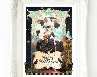 Halloween print, Marie Antoinette as a witch, vintage Gothic style, A4 giclee