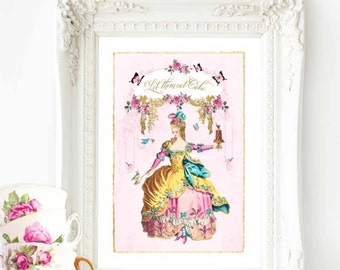 Marie Antoinette, let them eat cake, French art print, A4 giclee