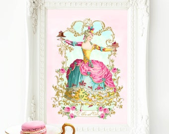 "Marie Antoinette printable, Let them eat cake, wall art, printable gift, Instant Download 8""x 10"", 11""x14"", A4, Personal use only"