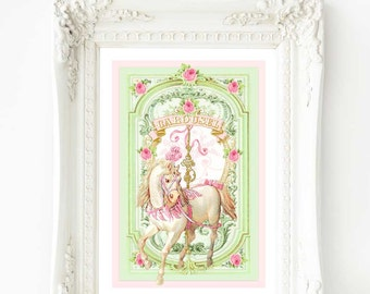 "Carousel horse, nursery print, romantic, vintage, white horse, A4, 8"" x 10"" giclee"
