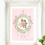 Romantic love birds in pink and mint green vintage art print, A4 giclee