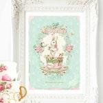 Rabbit print, nursery print, vintage tea party, white rabbit in a tea cup, A4 giclee