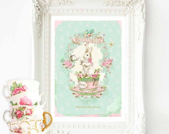 Rabbit print, nursery print, vintage tea party, white rabbit in a tea cup, A4 giclee