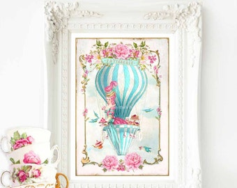 Marie Antoinette print, hot air balloon, French art print,  French patisserie, tea print, A4 giclee