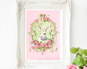Rabbit print, pink nursery, Easter decor, vintage style white rabbit with roses, A4 giclee