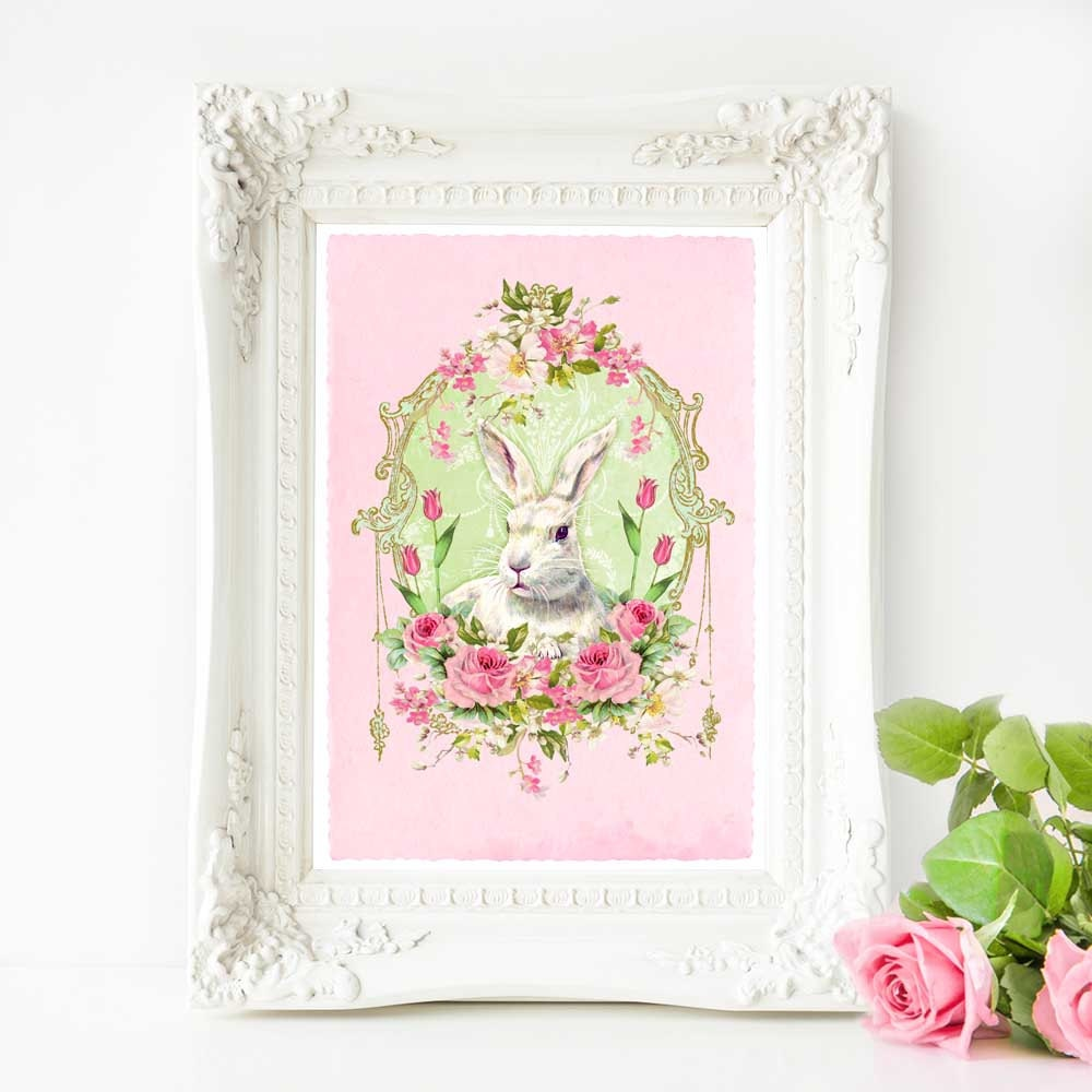 Vintage Inspired Classic Soft Pink Nursery: Rabbit Print Pink Nursery Easter Decor Vintage Style White