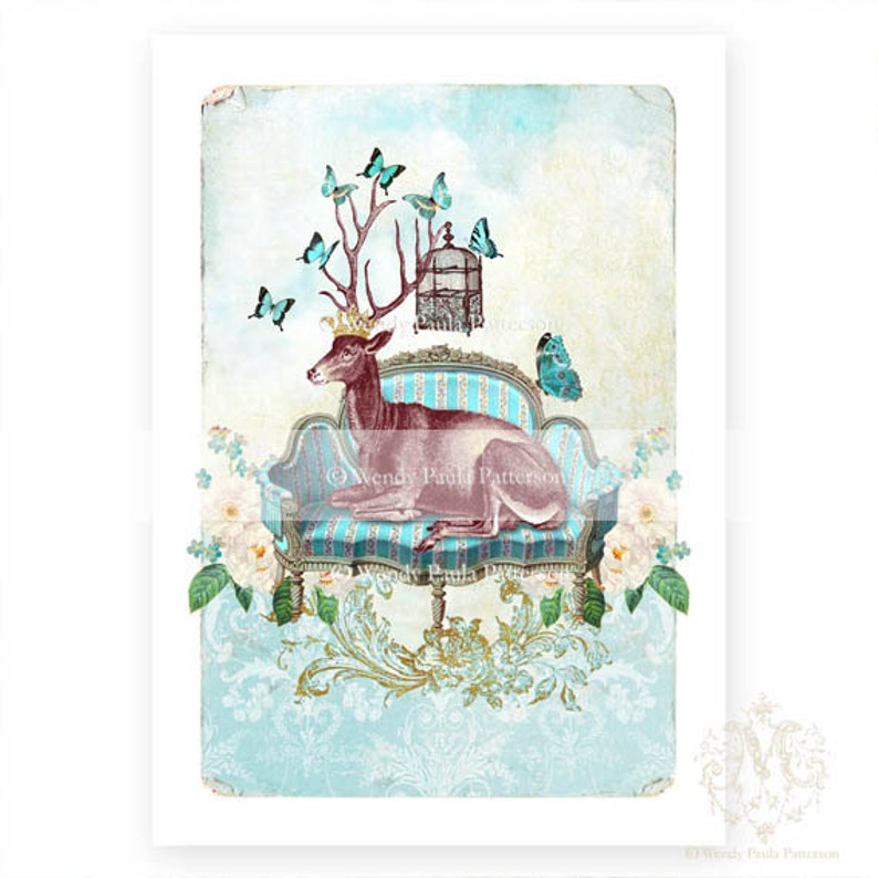 whimsical French art Anthropomorphic Deer A4 Stag print
