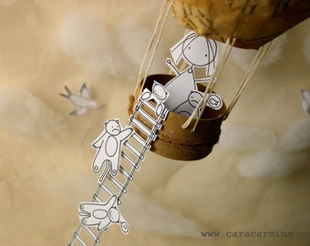 Together up in the sky  - Photo print - Paper diorama - letter size