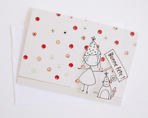 Madchen Geburtstag Franzosisch Grusskarte Papier Diorama Etsy