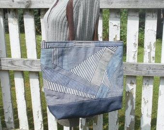 Large patchwork stripe denim carryall crossbody tote bag, selvedge denim leather  - eco vintage fabrics
