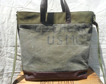 Large military canvas leather crossbody tote bag, carryall, USMC made in U.S.A. original vintage US miltary markings - eco vintage fabrics