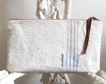 Sac de gros grain, pochette en utilitaire stripe - eco tissus vintage