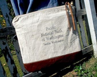 Pacific National Bank military canvas leather crossbody bag, Seattle Washington recycled bank sack - eco vintage fabrics