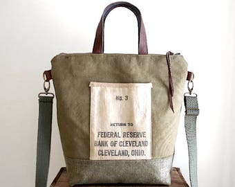 Military waxed canvas, bank sack crossbody tote bag - Federal Reserved Bank of Cleveland Ohio - eco vintage fabrics