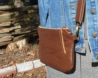 Leather mini crossbody bag, dark caramel brown, zipper clutch - eco vintage fabrics