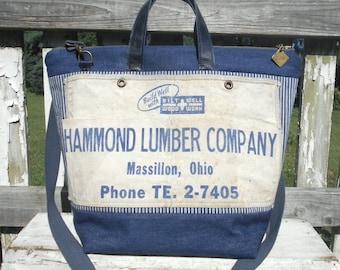 Recycled nail apron waxed denim carryall, large tote, diaper bag,  Hammond Lumber Co. Massillon Ohio - eco vintage fabrics