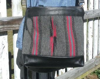 Chimayo black leather crossbody tote bag, vintage Navajo hand woven Southwestern tribal - eco vintage fabrics