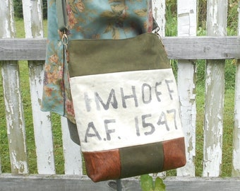 Recycled vintage Air Force military canvas leather crossbody tote large iPad bag, original 1951 Korean War US markings - BreadandRoses2