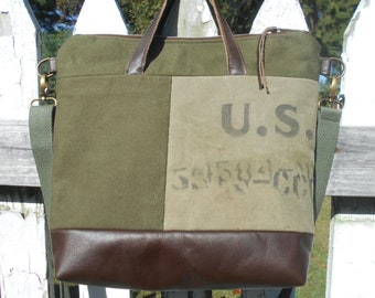 Recycled US military canvas leather crossbody tote, original military issue markings - eco vintage fabrics