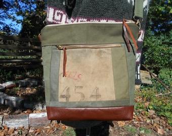 Repurposed US military canvas leather crossbody tote bag, original military issue markings - eco vintage fabrics