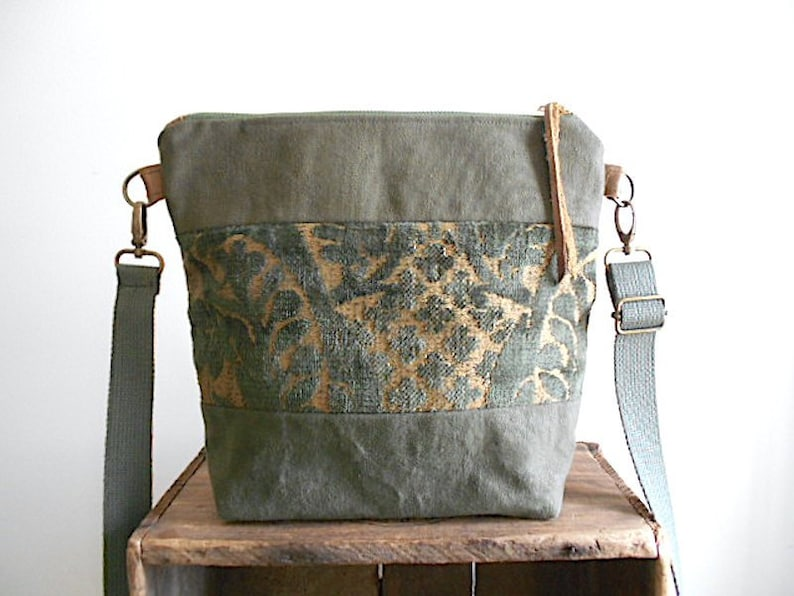 0c8aa2e6b705 Velvet tapestry, waxed military canvas crossbody bag - eco vintage fabrics