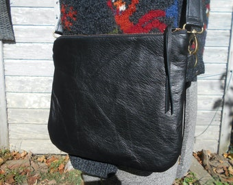 Leather mini crossbody bag, black leather zipper clutch - eco vintage fabrics