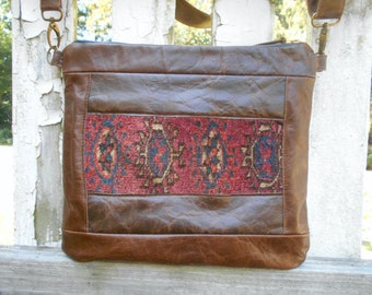 Antique Persian carpet leather crossbody bag, tribal Middle Eastern rug - eco vintage fabrics