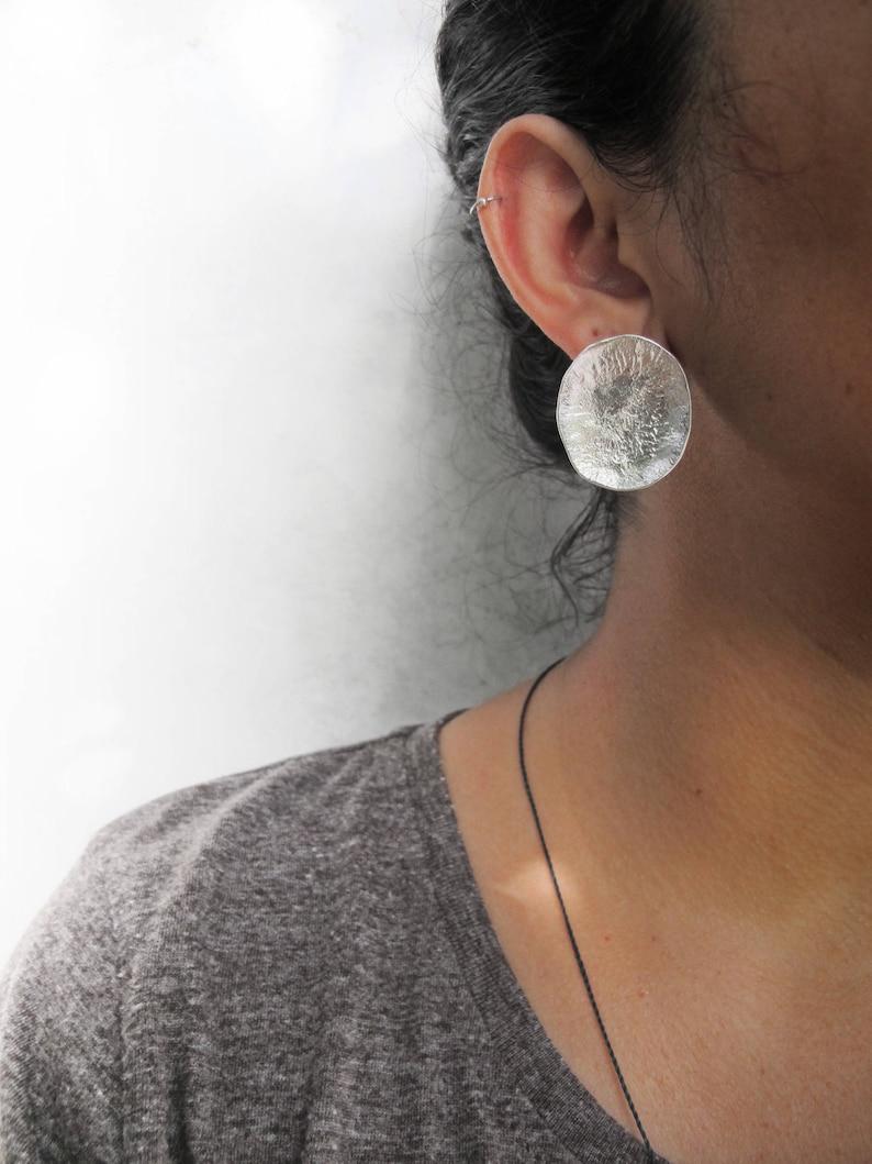 Large disc earrings Raw silver studs Oxidized silver circle earrings Modern Bohemian Wabi sabi design Statement earrings Strong primitive