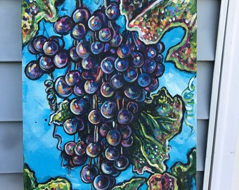 Expressive Vineyard grapes on stretched canvas signed and dated with purple blue orange pink green and a lovely blue sky art art work artist