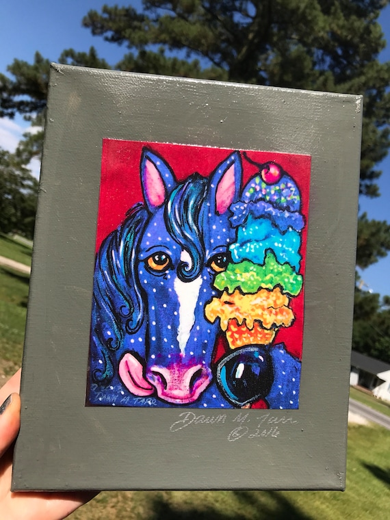Polkadot Purple Pony Eating Ice Cream Rainbow Cherry Red Purple Creamery Summer Art Original Prints From Painting Sealed On Canvas 8 X 10
