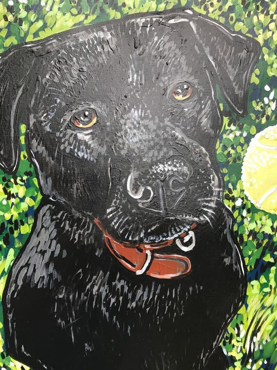 LABRADOR RETRIEVER Black Lab Martini Dog Art PRINT of Original Painting by VERN